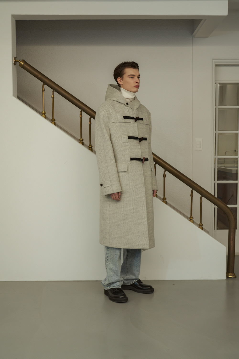 Check Duffle Coat Melange Grey