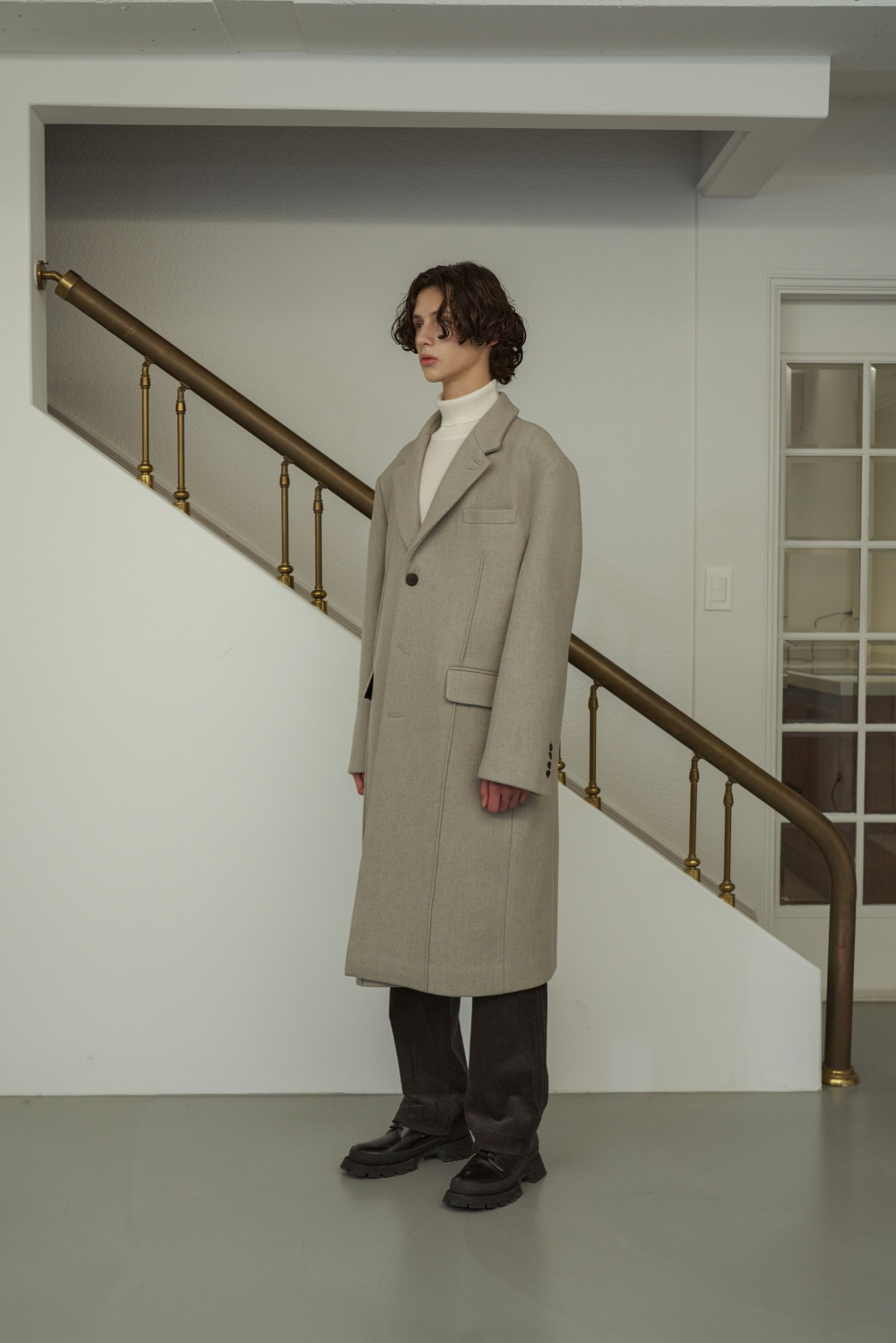 3 Button Pintuck Coat Oatmeal Grey