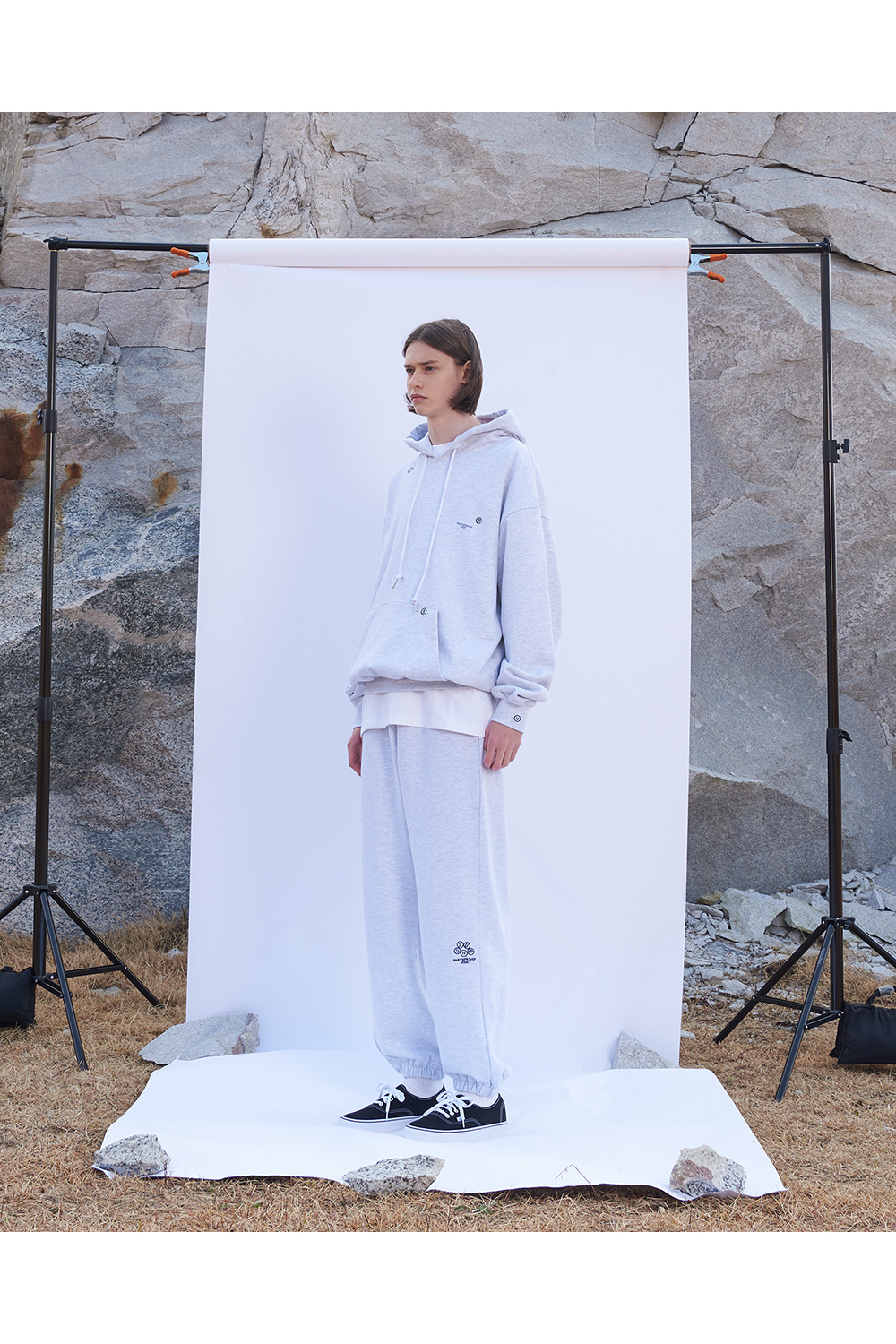 Embroidered Logo Sweatpants White Melange