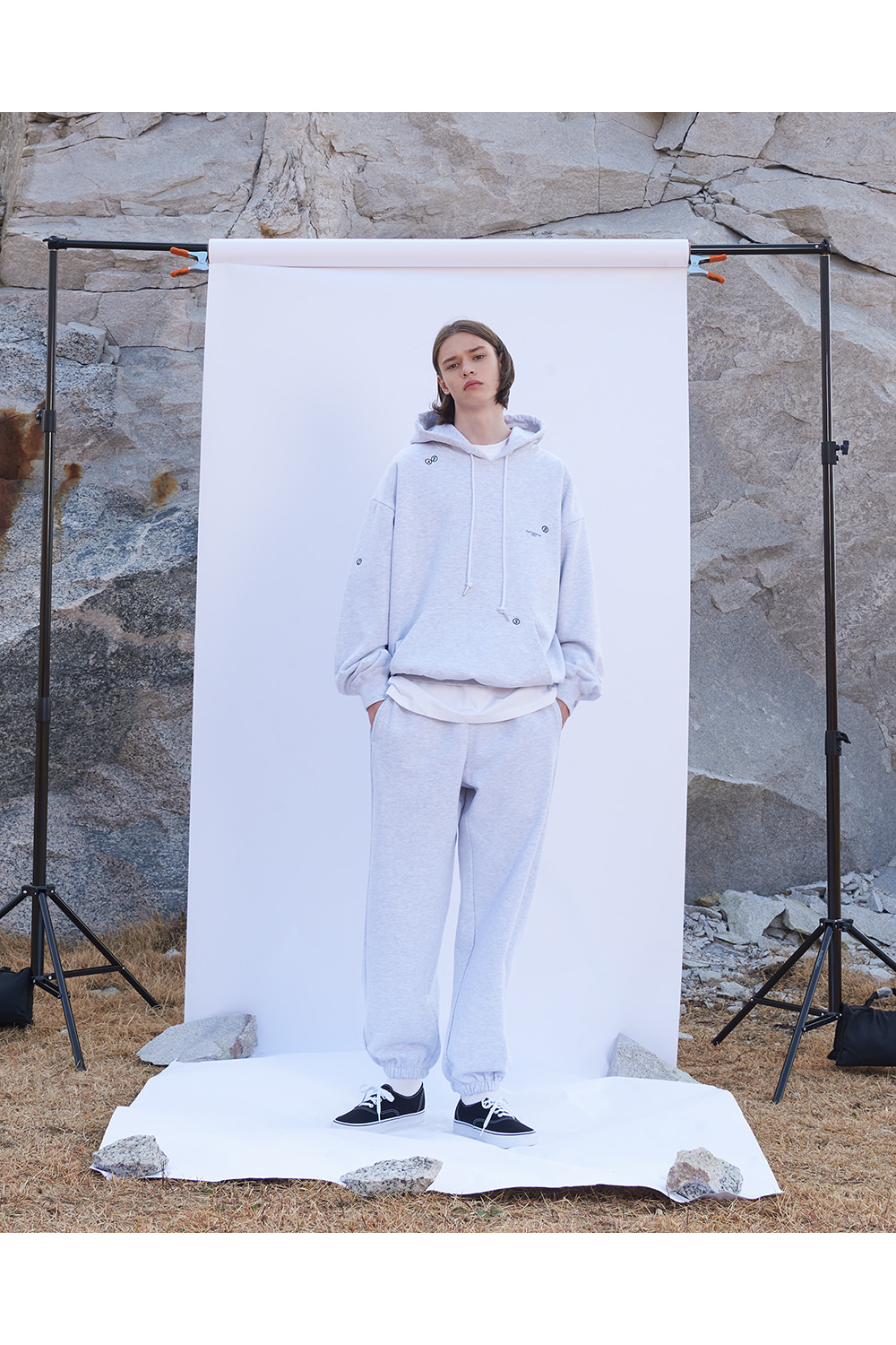 Embroidered Logo Hoodie White Melange